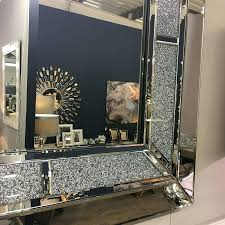 diamond glitz large square wall mirror mirrors uk