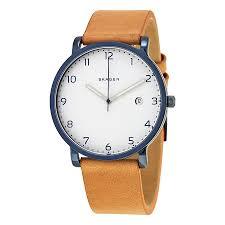 skagen hagen white dial men s leather watch skw6325