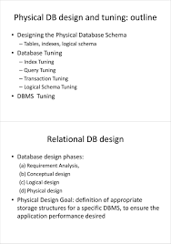 Logical Design Definition Physical Db Design And Tuning Outline Pdf Free Download