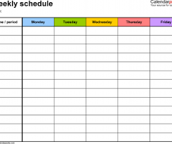 Weekly Schedule Days Planner Template Excel Meal Calendar Grocery ...