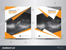 Leaflet Design Portfolio Orange Annual Report Template Polygon Background Stock Image