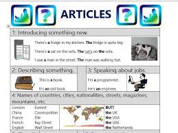 Kitchen Articles Chart Definite And Indefinite Articles Chart