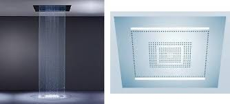 Recessed Ceiling Shower Head  Square  Rain  With Chromotherapy Recessed Ceiling Rain Shower Head