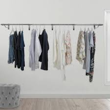 Wall mounted clothing rails Design Wall Mounted Clothes Hanging Rail 3660mm Displaysense Wall Mounted Clothes Rails Displaysense