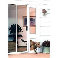 sliding door insert pet dog going through in glass flap canada patio