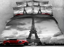 83 3d paris eiffel tower and vintage car printed cotton 4 piece bedding sets