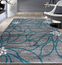 contemporary large fl soft area rug 7 10 x 10 blue