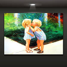 Baby Boy Kiss Girl Picture Lovely Painting Modern Home Decor Oil Painting  For Living Room Bedroom