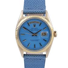 mens used day date presidents rolex watches for swiss wrist pre owned rolex mens yellow gold day date president watch turquoise stick dial
