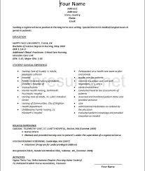 New Grad Nursing Resume Clinical Experience Nurse New Grad Nursing