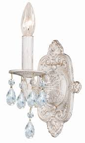 lighting stunning chandelier with matching wall sconces 7 antique white metal sconce hand polished crystals 10