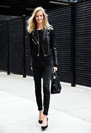 women s black leather biker jacket black crew neck t shirt black skinny jeans black suede pumps women s fashion