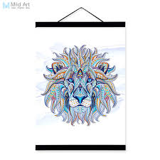 modern ancient african national animals lion face totem a4 framed canvas painting wall art prints picture