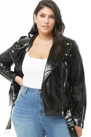 plus size faux patent leather moto jacket