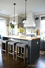 island design ideas designlens extended: thrifty decor chicks gray and white diy kitchen renovation featuring an extended island additional lighting extended cabinets and a two tone look