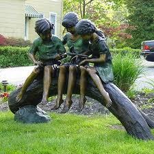 children garden statues. Life Size Garden Statues Children Sitting On Tree