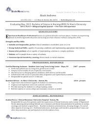 Emergency Nurse Resume Sample Nursing Student Examples Graduating