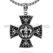 rock punk 316l stainless steel maltese cross with fleur de lis pendant necklaces for men njew