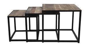 3 piece square coffee table set set of 3 mango wood iron