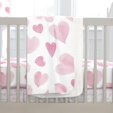 pink watercolor hearts crib blanket