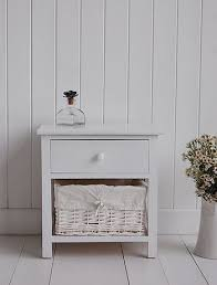 A Small White Bedside Table With 2 Drawers