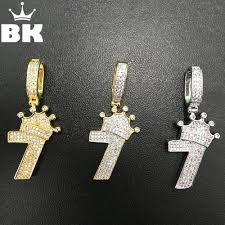 whole the bling king number 7 crown pendant necklace micro paved aaa cubic zirconia gold silver double color copper jewelry pendants for necklace