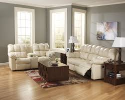 Reclining Living Room Set Ashley Kennard Cream Leather Match 2pc Reclining Sofa And Loveseat Set