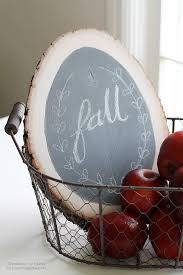 make a simple chalkboard using a rustic wood round and some chalkboard paint details at