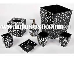 Astonishing Black And White Bathroom Accessories In Interior Home