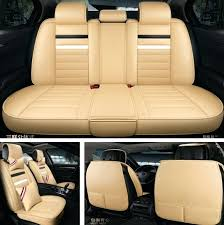 leather seat cushions for car 5 seat car beige leather seat cover cushion protector with pillows leather seat cushions