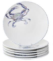 dinner sets for 6. blue crab dinner plates, set of 6 beach-style-dinner-plates sets for e