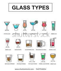 Glass types and different alcohol beverages. A visual guide. Various types  of alcoholic drinks