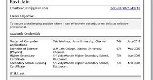 mca fresher resume format resume format for mca student