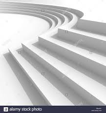 Curved Architecture White Abstract Architecture Background With Curved Stairs 3d