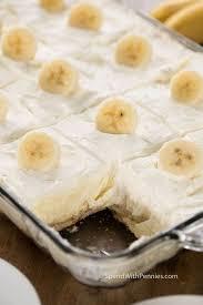 pan full of homemade banana pudding cut into squares