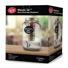 tablecraft bdg3000 2 gal mason jar beverage dispenser w infuser 9 75 x 13 75 glass