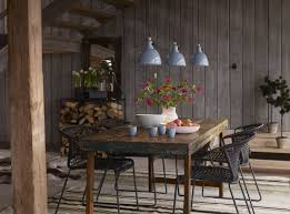Interior:Urban Rustic Dining Room Decor With Old Wood Dining Table And  Three Hanging Lamp