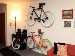 Freestanding Bike Storage Hooks To Hang Two Bike Mounted On White Living  Room Wall Next To Small Working Space Pretty Design