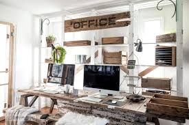 reclaimed wood office desk. Pallet Wood Office Desk With Large Sign And Rustic Benches, Including Crates For Paperwork Organizing Reclaimed