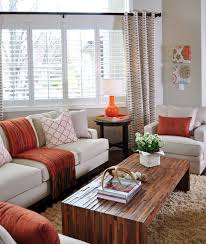 Taupe Living Room Furniture Orange And Taupe Living Room By Judith Balis Shag Rug Linen Sofa