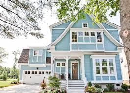 Light Blue Houses With White Trim Beautiful Coastal Blue Exteriors The Happy Housie