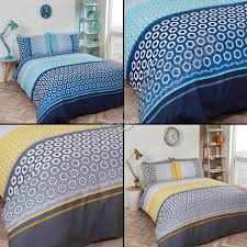details about modern bright geometric bedding quilt duvet cover set yellow grey blue navy