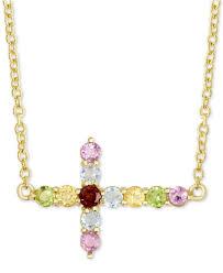 macy s women s metallic multi gemstone east west cross pendant