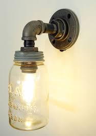 interesting mason jar wall sconce mason jar light with plumbing pipe fixture green diy
