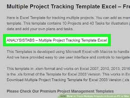 Project Management Microsoft Excel How To Track Multiple Projects In Excel On Pc Or Mac 13 Steps