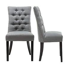 fabric tufted upholstered dining chair leisure padded urban modern dining side chairs with nailed