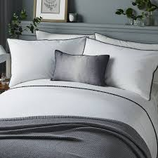 serene pom pom super king duvet cover set white grey