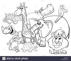 Safari Animals Template Cartoon Safari Animals Coloring Page Stock Photo 174951744