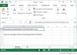 Ms Excel 2013 How To Change Column Headings From Numbers To Letters
