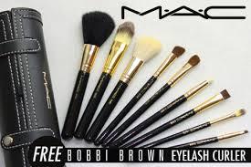 last day 68 off m a c make up brush set 9 brushes mirror with case free bobbi brown eyelash curler free registered pose